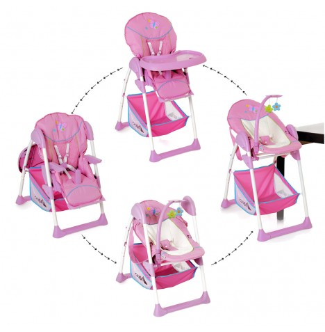 Hauck Sit n Relax 2 in 1 Highchair / Bouncer - Butterfly Pink
